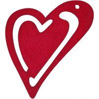 Asymmetrisk hjerte, str. 55x45 mm, mørk pink, 10 stk./ 1 pk.