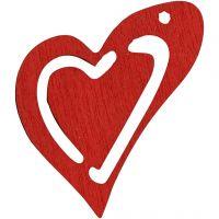 Asymmetrisk hjerte, str. 25x22 mm, rød, 20 stk./ 1 pk.