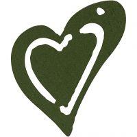 Asymmetrisk hjerte, str. 25x22 mm, tykkelse 1,7 mm, mørk grøn, 20 stk./ 1 pk.