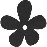 Blomst, str. 57x51 mm, tykkelse 2 mm, sort, 10 stk./ 1 pk.