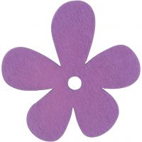 Blomst, str. 57x51 mm, tykkelse 2 mm, lilla, 10 stk./ 1 pk.
