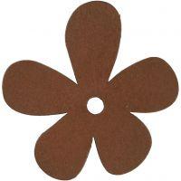 Blomst, str. 57x51 mm, tykkelse 2 mm, brun, 10 stk./ 1 pk.