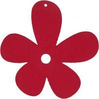 Blomst, str. 57x51 mm, tykkelse 2 mm, mørk pink, 10 stk./ 1 pk.