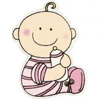 Baby, str. 24x35 mm, tykkelse 1,7 mm, lyserød, 10 stk./ 1 pk.