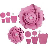 Papirblomster, diam. 15+25 cm, 230 g, lyserød, 2 stk./ 1 pk.