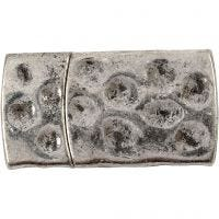 Magnetlås, str. 7x29 mm, hulstr. 3x10 mm, antik sølv, 1 stk.