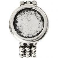 Cabochon ring, diam. 19 mm, hulstr. 14 mm, antik sølv, 1 stk.