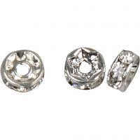 Rondel med rhinsten, diam. 6 mm, hulstr. 1,2 mm, forsølvet, 50 stk./ 1 pk.