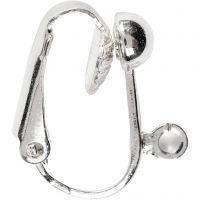 Øreclips, L: 16,5 mm, B: 1,5 mm, hulstr. 1,6 mm, forsølvet, 6 stk./ 1 pk.