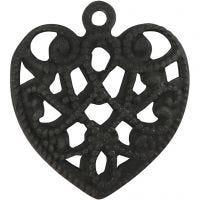 Hjerte, str. 13x14 mm, hulstr. 1 mm, sort, 4 stk./ 1 pk.