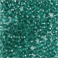 Facetperler, diam. 4 mm, hulstr. 1 mm, grøn, 45 stk./ 1 streng