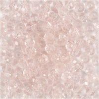 Facetperler, diam. 4 mm, hulstr. 1 mm, lys rosa, 45 stk./ 1 streng