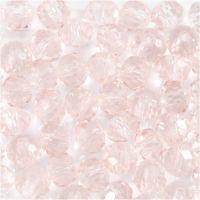 Glasperler, diam. 4 mm, hulstr. 1 mm, lys rosa, 45 stk./ 1 streng