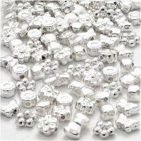 Figurperler, str. 4-10 mm, hulstr. 1-1,5 mm, forsølvet, 200 stk./ 1 pk.
