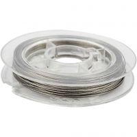 Smykkewire, tykkelse 0,38 mm, sølv, 10 m/ 1 rl.