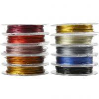 Smykkewire, tykkelse 0,38 mm, ass. farver, 10x10 m/ 1 pk.