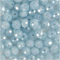 Facetperler, str. 5x6 mm, hulstr. 1 mm, havblå, 100 stk./ 1 pk.