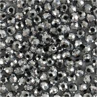 Facetperler, str. 3x4 mm, hulstr. 0,8 mm, metallic grå, 100 stk./ 1 pk.