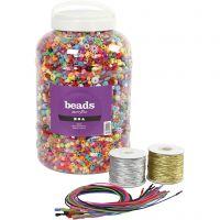Perlespand, elastik og halskæder, str. 6-20 mm, hulstr. 1,5-6 mm, ass. farver, 1 sæt