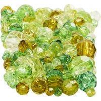 Harmoni facetperlemix, str. 4-12 mm, hulstr. 1-2,5 mm, grøn glitter, 250 g/ 1 pk.