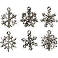 Snefnug med øje, H: 20 mm, hulstr. 1,5 mm, antik sølv, 18 ass./ 1 pk.