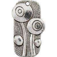 Vedhæng, str. 37x20 mm, hulstr. 2 mm, antik sølv, 6 stk./ 1 pk.
