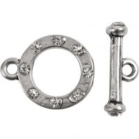 Stavlås, L: 17 mm, diam. 20 mm, hulstr. 2 mm, antik sølv, 1 sæt