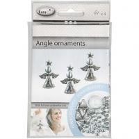 Saml-selv Engle, H: 5,5 cm, antik sølv, 4 stk./ 1 pk.