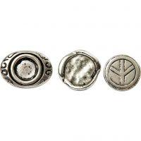 Knytteknap, diam. 15-22 mm, hulstr. 4 mm, antik sølv, 45 stk./ 1 pk.