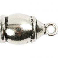 Enderør, str. 11x20 mm, hulstr. 6 mm, antik sølv, 40 stk./ 1 pk.