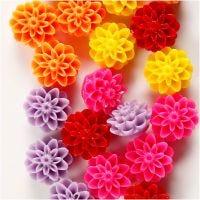 Blomsterperler, str. 15x8 mm, hulstr. 1,5 mm, ass. farver, 5x4 stk./ 1 pk.