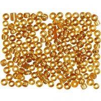 Rocaiperler, diam. 3 mm, str. 8/0 , hulstr. 0,6-1,0 mm, guld, 500 g/ 1 pk.
