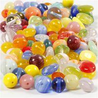 Glasperler, rund, oval, rundflad, diam. 6-13 mm, hulstr. 0,5-1,5 mm, ass. farver, 350 g/ 1 pk.