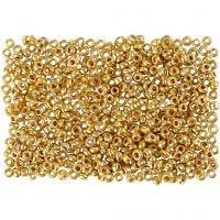 Rocaiperler, diam. 1,7 mm, str. 15/0 , hulstr. 0,5-0,8 mm, messing, 500 g/ 1 ps.