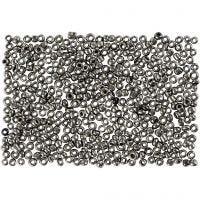 Rocaiperler, diam. 1,7 mm, str. 15/0 , hulstr. 0,5-0,8 mm, grå metal, 500 g/ 1 ps.