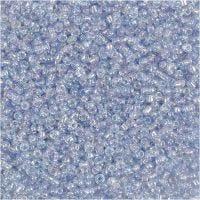 Rocaiperler, diam. 1,7 mm, str. 15/0 , hulstr. 0,5-0,8 mm, lyseblå, 500 g/ 1 ps.