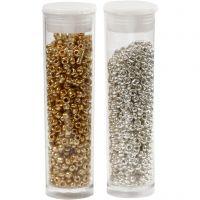 Rocaiperler, diam. 1,7 mm, str. 15/0 , hulstr. 0,5-0,8 mm, guld, sølv, 2x7 g/ 1 pk.