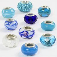 Glaslinks - harmoni, diam. 13-15 mm, hulstr. 4,5-5 mm, blå harmoni, 10 ass./ 1 pk.