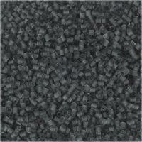Rocaiperler, 2-cut, diam. 1,7 mm, str. 15/0 , hulstr. 0,5 mm, transparent grå, 25 g/ 1 pk.
