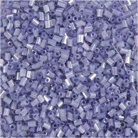 Rocaiperler, 2-cut, diam. 1,7 mm, str. 15/0 , hulstr. 0,5 mm, transparent lilla, 25 g/ 1 pk.