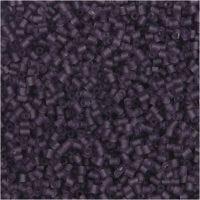 Rocaiperler, 2-cut, diam. 1,7 mm, str. 15/0 , hulstr. 0,5 mm, frosted lilla, 25 g/ 1 pk.