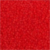 Rocaiperler, 2-cut, diam. 1,7 mm, str. 15/0 , hulstr. 0,5 mm, transparent rød, 25 g/ 1 pk.