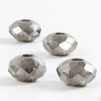 Glaslinks, str. 9x14 mm, hulstr. 4 mm, mørk grå, 4 stk./ 1 pk.
