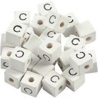 Bogstavperle, C, str. 8x8 mm, hulstr. 3 mm, hvid, 25 stk./ 1 pk.