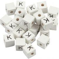 Bogstavperle, K, str. 8x8 mm, hulstr. 3 mm, hvid, 25 stk./ 1 pk.