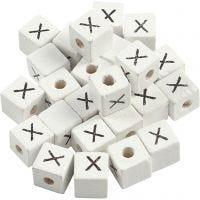 Bogstavperle, X, str. 8x8 mm, hulstr. 3 mm, hvid, 25 stk./ 1 pk.