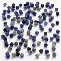 Ægte sten, diam. 3 mm, hulstr. 0,5-0,7 mm, blå, 120 stk./ 1 pk.