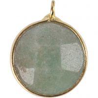 Smykkevedhæng, Halvædelsten: grøn amazonit, diam. 15 mm, hulstr. 2 mm, grøn, 1 stk.