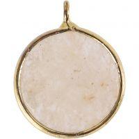 Smykkevedhæng, Halvædelsten: beige jadesten, diam. 15 mm, hulstr. 2 mm, beige, 1 stk.