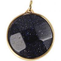 Smykkevedhæng, Halvædelsten: blå sand crystal, diam. 15 mm, hulstr. 2 mm, blå, 1 stk.